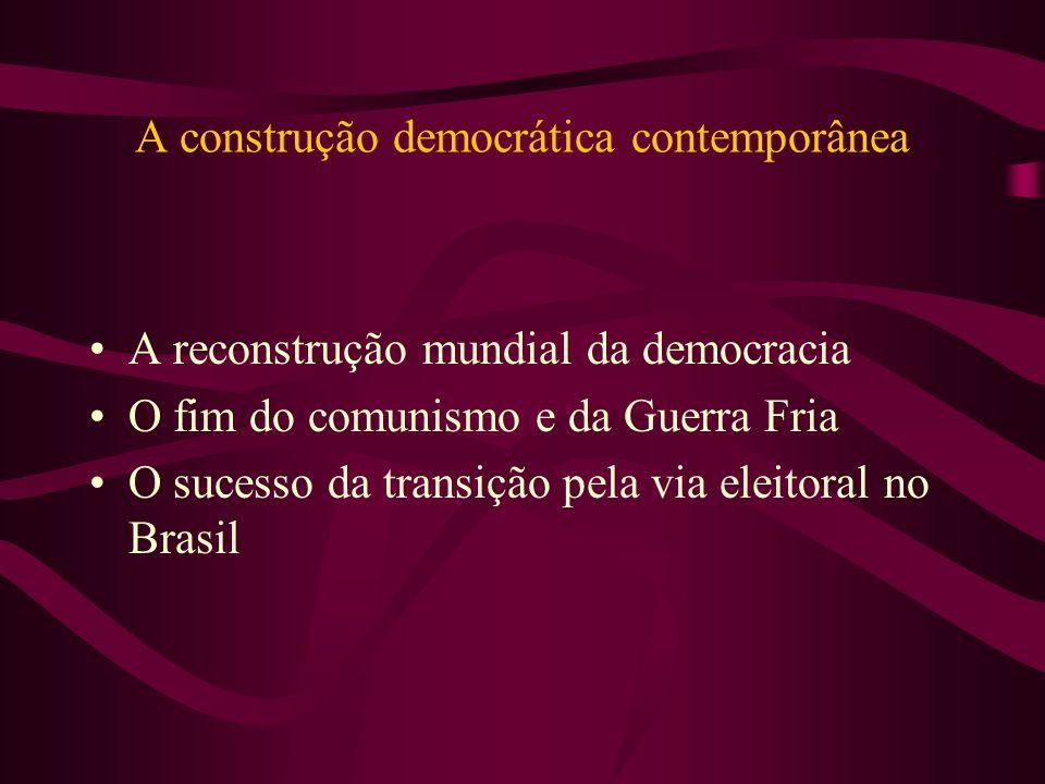 A construção democrática contemporânea A reconstrução mundial da democracia O fim do comunismo e da Guerra Fria O sucesso da transição pela via eleito