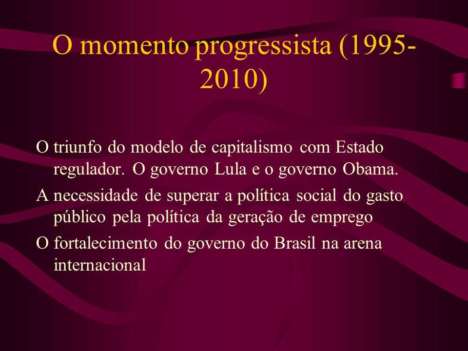 O momento progressista (1995- 2010) O triunfo do modelo de capitalismo com Estado regulador. O governo Lula e o governo Obama. A necessidade de supera