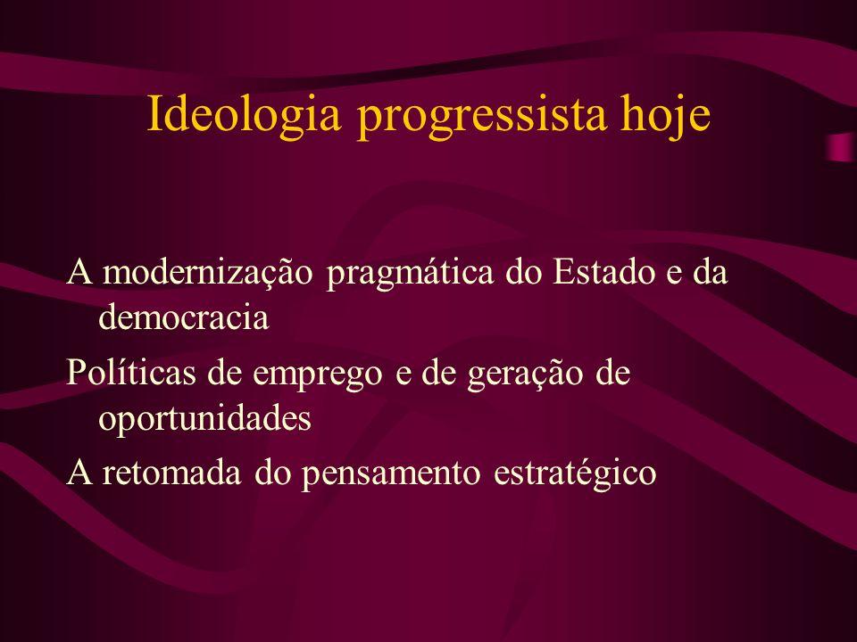 Ideologia progressista hoje A modernização pragmática do Estado e da democracia Políticas de emprego e de geração de oportunidades A retomada do pensa