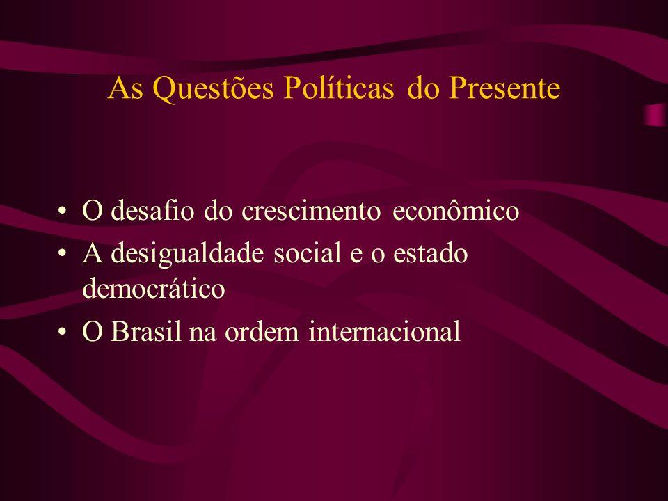 As Questões Políticas do Presente O desafio do crescimento econômico A desigualdade social e o estado democrático O Brasil na ordem internacional