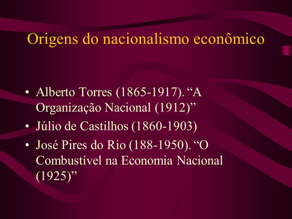 Origens do nacionalismo econômico Alberto Torres (1865-1917). A Organização Nacional (1912) Júlio de Castilhos (1860-1903) José Pires do Rio (188-1950