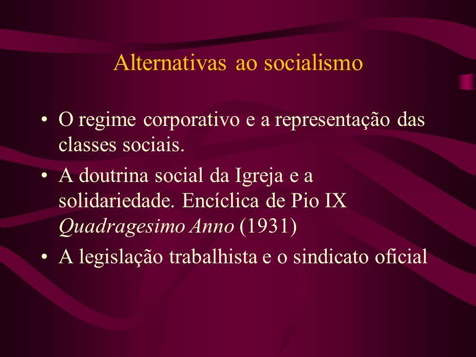 Alternativas ao socialismo O regime corporativo e a representação das classes sociais. A doutrina social da Igreja e a solidariedade. Encíclica de Pio