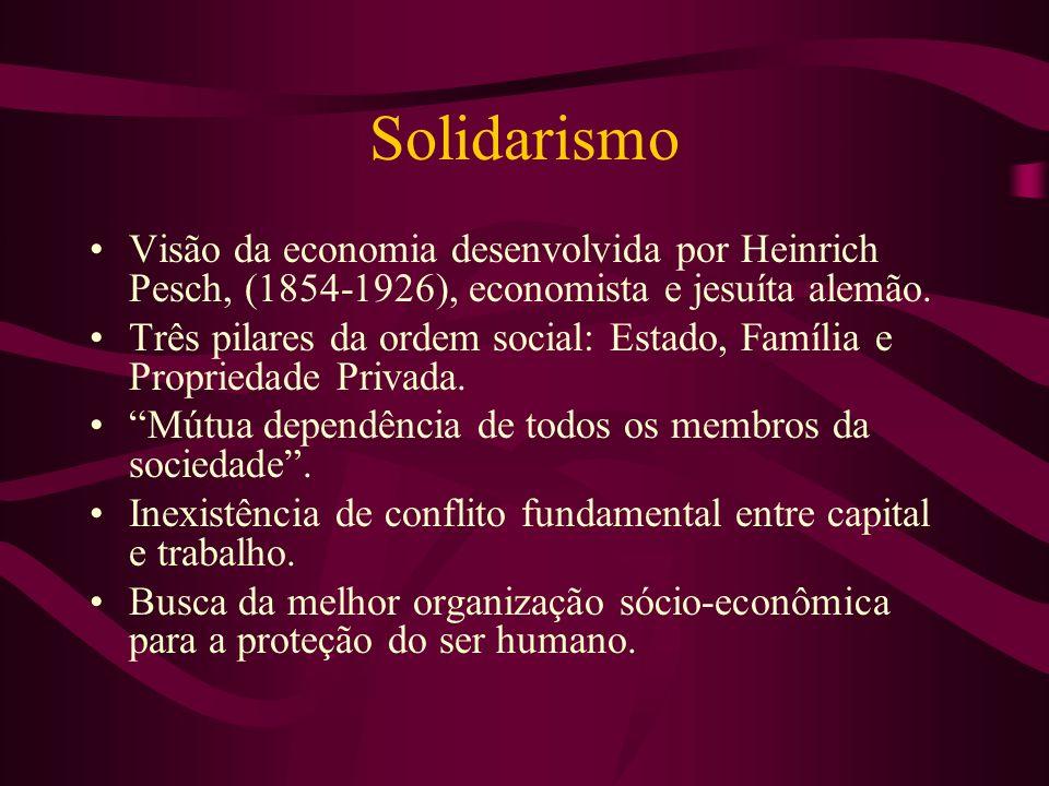 Solidarismo Visão da economia desenvolvida por Heinrich Pesch, (1854-1926), economista e jesuíta alemão. Três pilares da ordem social: Estado, Família
