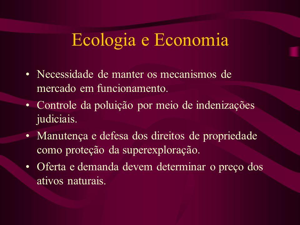 Ecologia e Economia Necessidade de manter os mecanismos de mercado em funcionamento. Controle da poluição por meio de indenizações judiciais. Manutenç