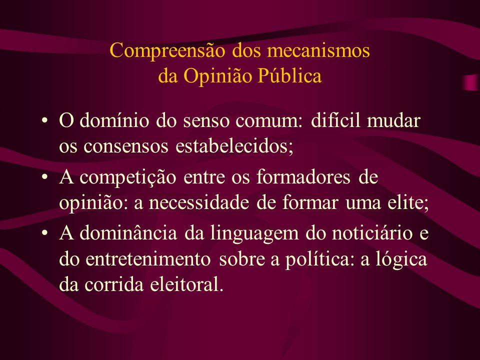 Compreensão dos mecanismos da Opinião Pública O domínio do senso comum: difícil mudar os consensos estabelecidos; A competição entre os formadores de