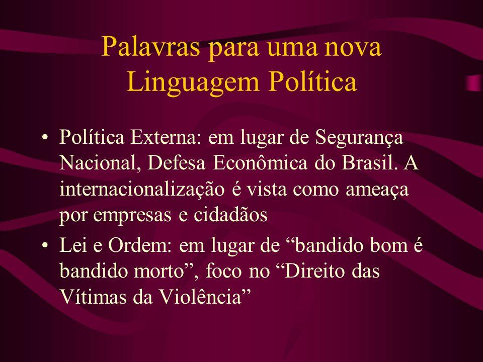 Palavras para uma nova Linguagem Política Política Externa: em lugar de Segurança Nacional, Defesa Econômica do Brasil. A internacionalização é vista