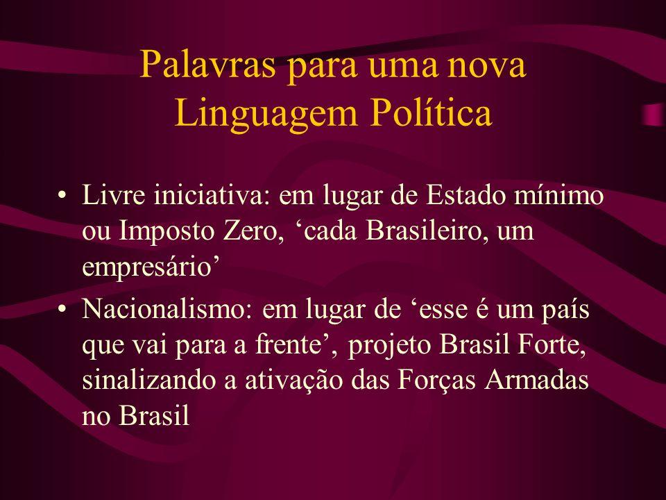 Palavras para uma nova Linguagem Política Livre iniciativa: em lugar de Estado mínimo ou Imposto Zero, cada Brasileiro, um empresário Nacionalismo: em