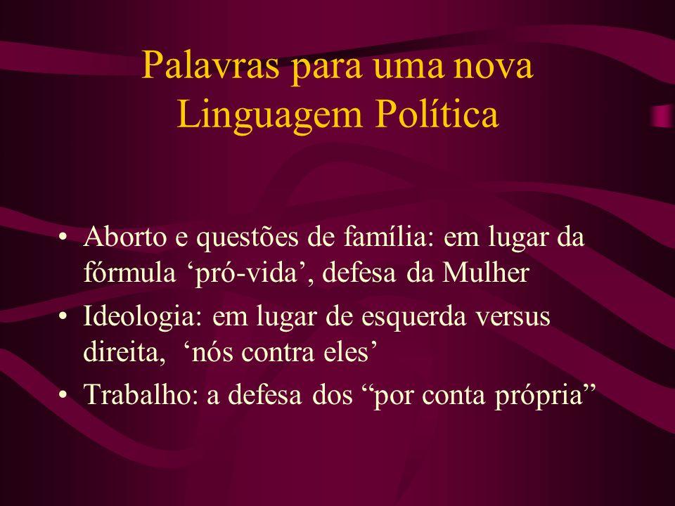 Palavras para uma nova Linguagem Política Aborto e questões de família: em lugar da fórmula pró-vida, defesa da Mulher Ideologia: em lugar de esquerda