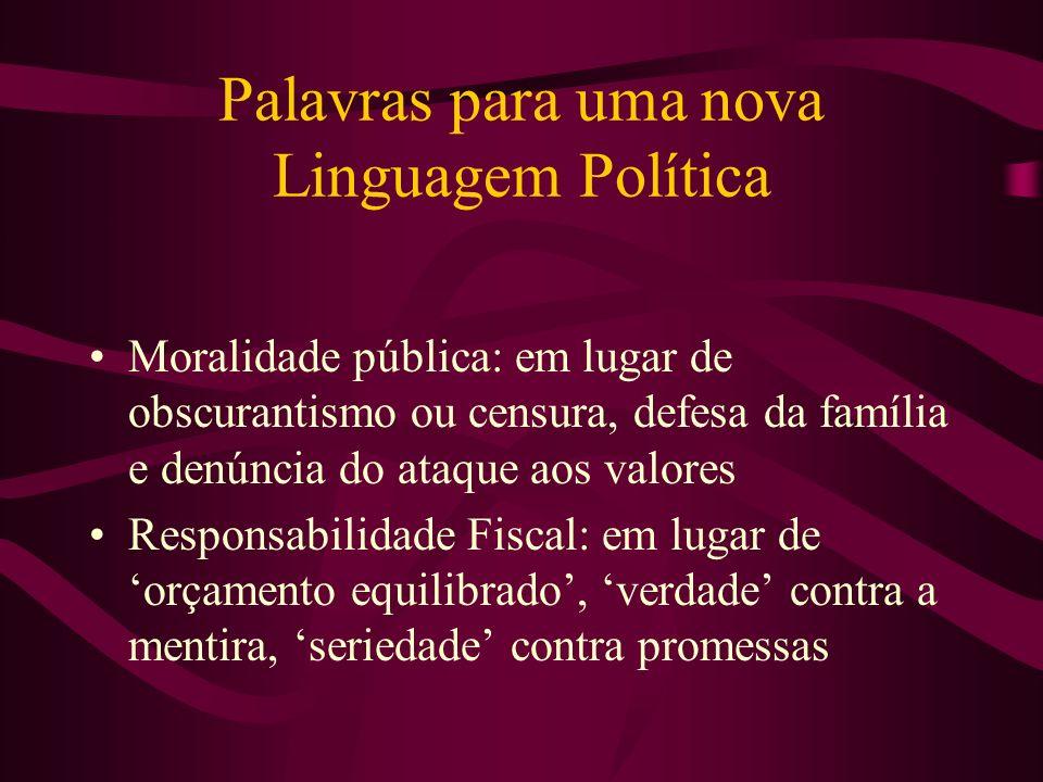 Palavras para uma nova Linguagem Política Moralidade pública: em lugar de obscurantismo ou censura, defesa da família e denúncia do ataque aos valores