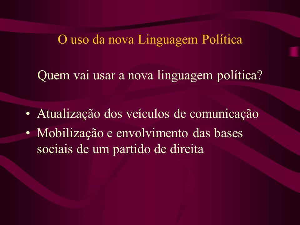 O uso da nova Linguagem Política Quem vai usar a nova linguagem política? Atualização dos veículos de comunicação Mobilização e envolvimento das bases