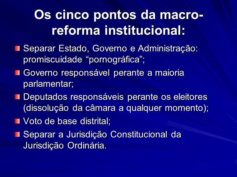 Os cinco pontos da macro- reforma institucional: Separar Estado, Governo e Administração: promiscuidade pornográfica; Governo responsável perante a ma