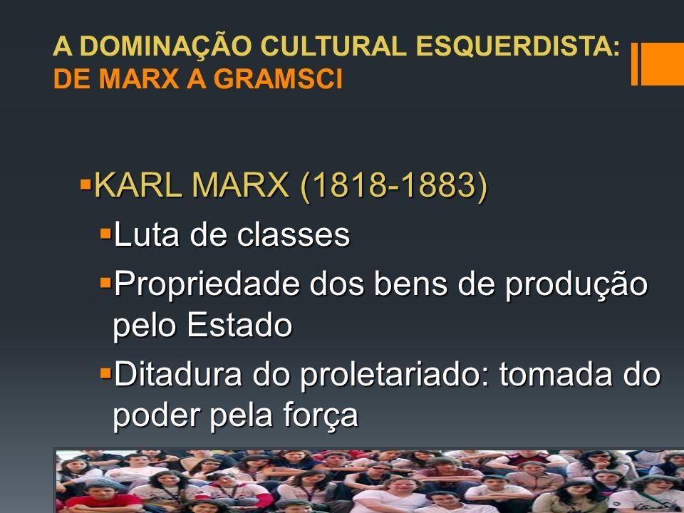 A DOMINAÇÃO CULTURAL ESQUERDISTA: DE MARX A GRAMSCI ANTÔNIO GRAMSCI (1891-1937) Cadernos do Cárcere – 1929-1935 Contribuição inédita ao Marxismo: transição ao invés de ruptura e violência Nova concepção para as sociedades de tipo ocidental (sociedade forte) Guerra de movimento (MARX) e guerra de posição (GRAMSCI): cupins No Brasil, chegam em 1968