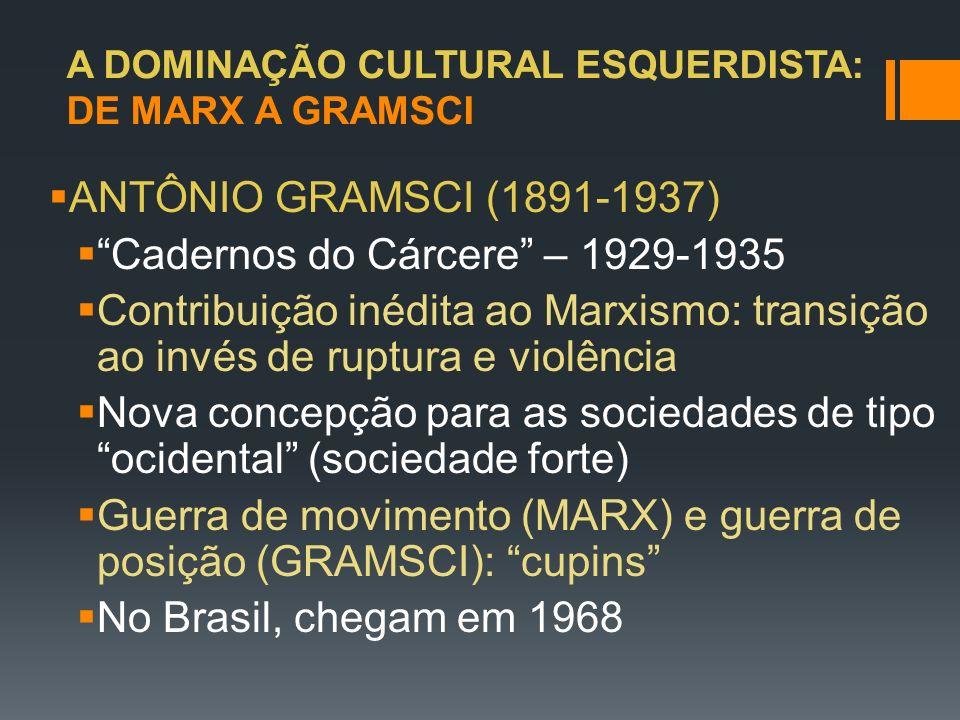 A DOMINAÇÃO CULTURAL ESQUERDISTA: DE MARX A GRAMSCI ANTÔNIO GRAMSCI (1891-1937) Cadernos do Cárcere – 1929-1935 Contribuição inédita ao Marxismo: tran