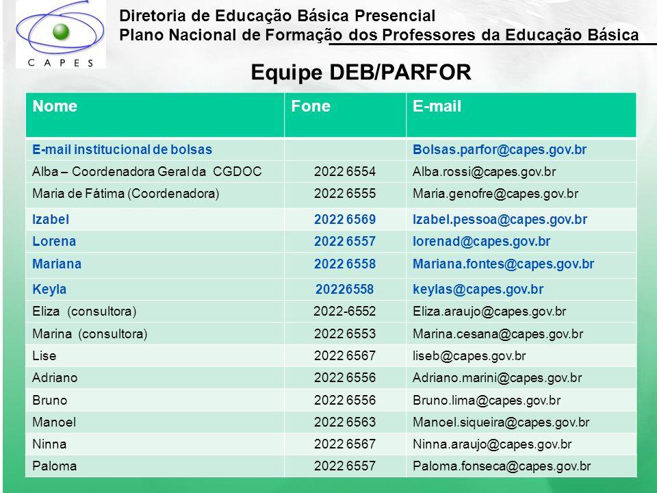 Diretoria de Educação Básica Presencial Plano Nacional de Formação dos Professores da Educação Básica Equipe DEB/PARFOR NomeFoneE-mail E-mail instituc