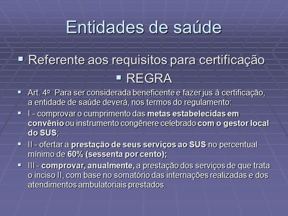 Entidades de saúde Referente aos requisitos para certificação Referente aos requisitos para certificação REGRA REGRA Art. 4 o Para ser considerada ben