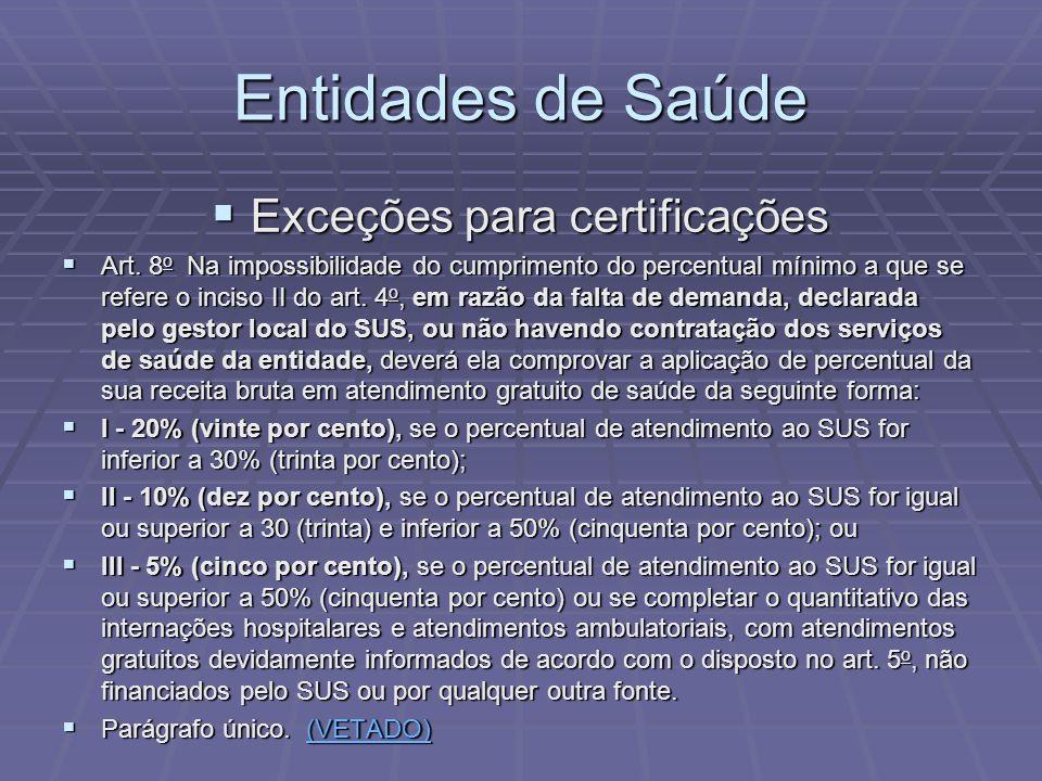 Entidades de Saúde Exceções para certificações Exceções para certificações Art. 8 o Na impossibilidade do cumprimento do percentual mínimo a que se re