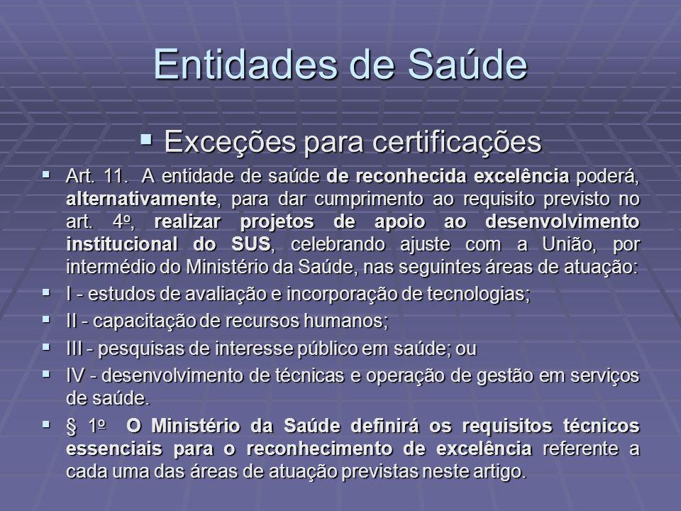 Entidades de Saúde Exceções para certificações Exceções para certificações Art. 11. A entidade de saúde de reconhecida excelência poderá, alternativam