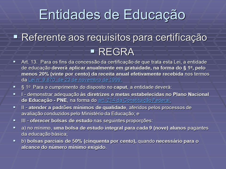 Entidades de Educação Referente aos requisitos para certificação Referente aos requisitos para certificação REGRA REGRA Art. 13. Para os fins da conce