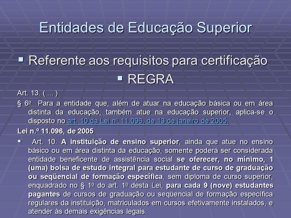 Entidades de Educação Superior Referente aos requisitos para certificação Referente aos requisitos para certificação REGRA REGRA Art. 13. (... ) § 6 o