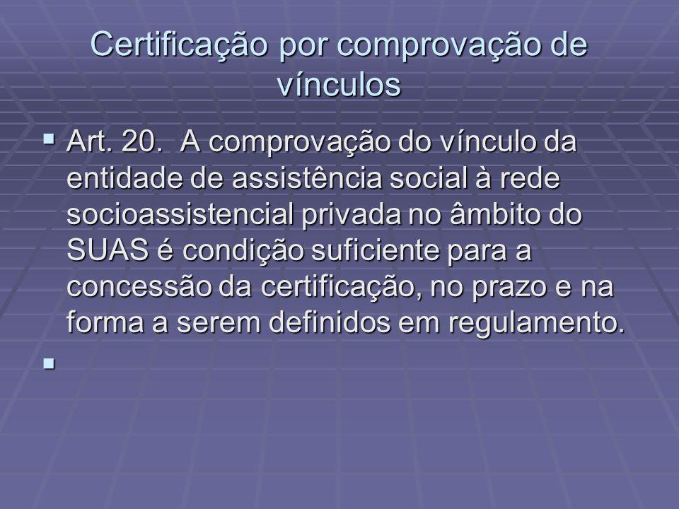 Certificação por comprovação de vínculos Art. 20. A comprovação do vínculo da entidade de assistência social à rede socioassistencial privada no âmbit