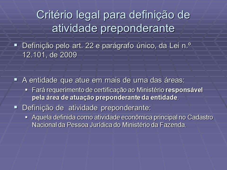 Critério legal para definição de atividade preponderante Definição pelo art. 22 e parágrafo único, da Lei n.º 12.101, de 2009 Definição pelo art. 22 e