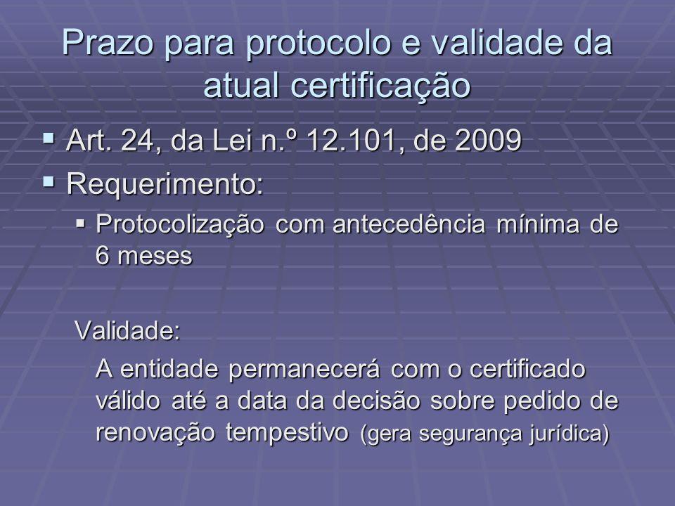 Prazo para protocolo e validade da atual certificação Art. 24, da Lei n.º 12.101, de 2009 Art. 24, da Lei n.º 12.101, de 2009 Requerimento: Requerimen