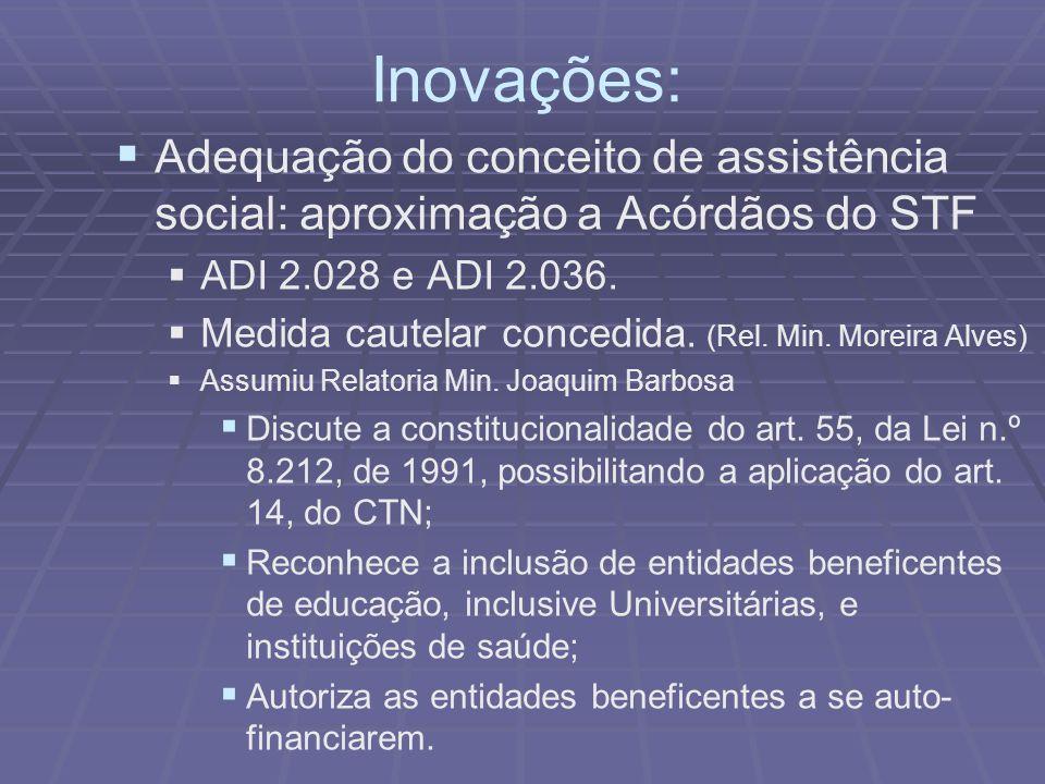 Inovações: Adequação do conceito de assistência social: aproximação a Acórdãos do STF ADI 2.028 e ADI 2.036. Medida cautelar concedida. (Rel. Min. Mor