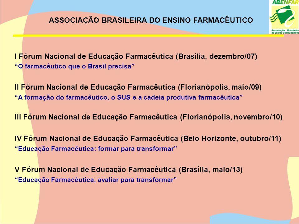 ASSOCIAÇÃO BRASILEIRA DO ENSINO FARMACÊUTICO Integrante do FÓRUM NACIONAL DE EDUCAÇÃO PARA AS PROFISSÕES NA ÁREA DA SAÚDE – FNEPAS VII e VIII Conferência Panamericana de Educação Farmacêutica (Porto Alegre, Maio/2010; Cuba 10/2012) XV Conferência Iberoamericana de Faculdades de Farmácia, V Congresso Iberoamericana de Ciências Farmacêuticas, VIII Conferência Nacional de Educação Farmacêutica (Brasília, junho/13) Encontro de Coordenadores de Cursos de Farmácia.