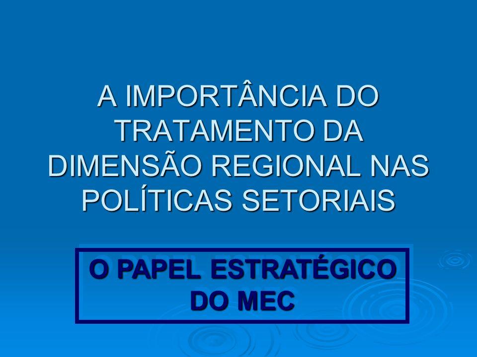 A IMPORTÂNCIA DO TRATAMENTO DA DIMENSÃO REGIONAL NAS POLÍTICAS SETORIAIS O PAPEL ESTRATÉGICO DO MEC