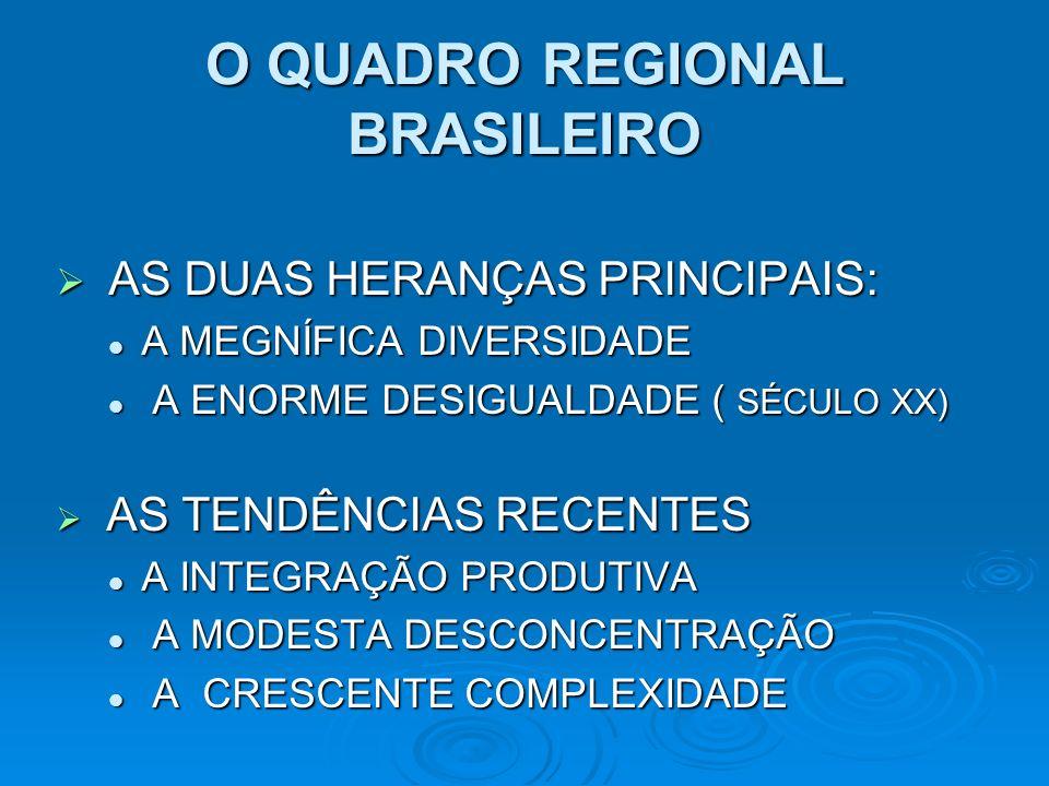 O QUADRO REGIONAL BRASILEIRO AS DUAS HERANÇAS PRINCIPAIS: AS DUAS HERANÇAS PRINCIPAIS: A MEGNÍFICA DIVERSIDADE A MEGNÍFICA DIVERSIDADE A ENORME DESIGU