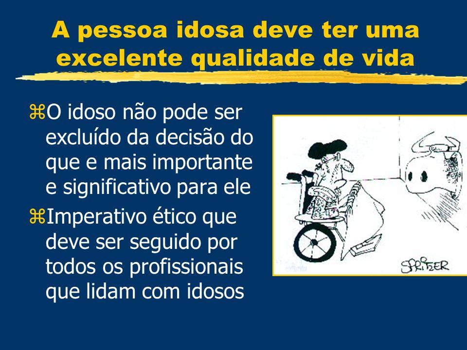 A pessoa idosa deve ter uma excelente qualidade de vida zO idoso não pode ser excluído da decisão do que e mais importante e significativo para ele zI