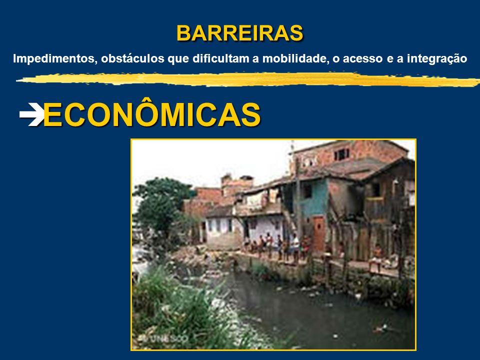 BARREIRAS BARREIRAS Impedimentos, obstáculos que dificultam a mobilidade, o acesso e a integração ECONÔMICAS ECONÔMICAS