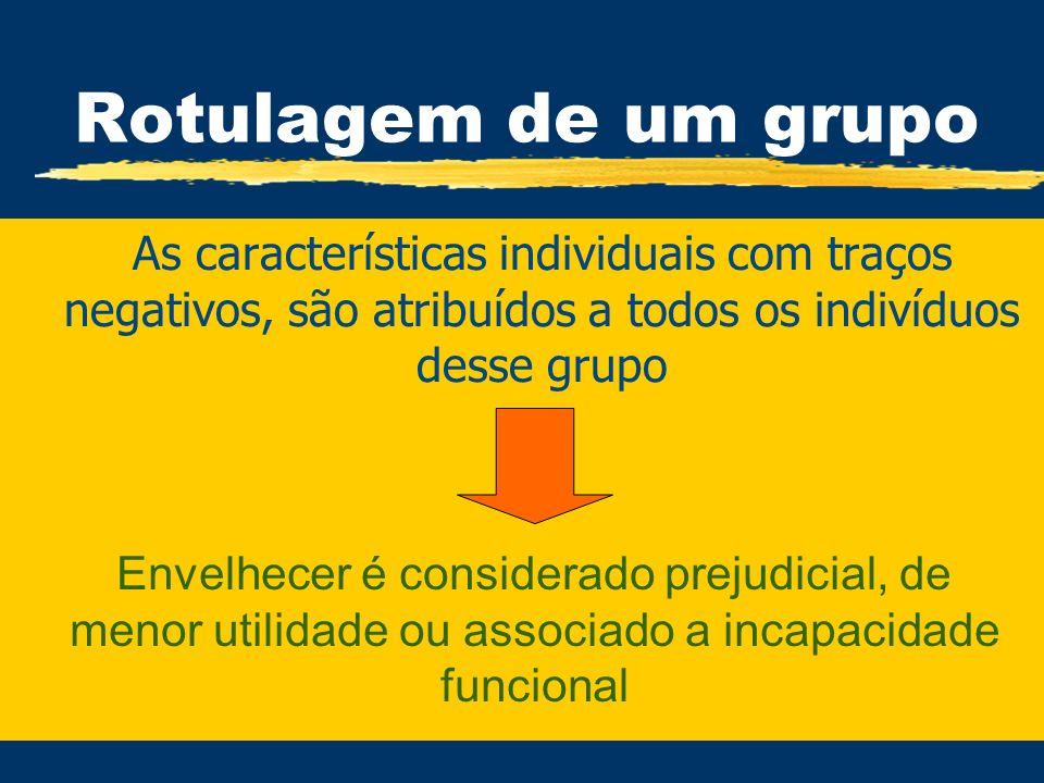 Rotulagem de um grupo zAs características individuais com traços negativos, são atribuídos a todos os indivíduos desse grupo Envelhecer é considerado