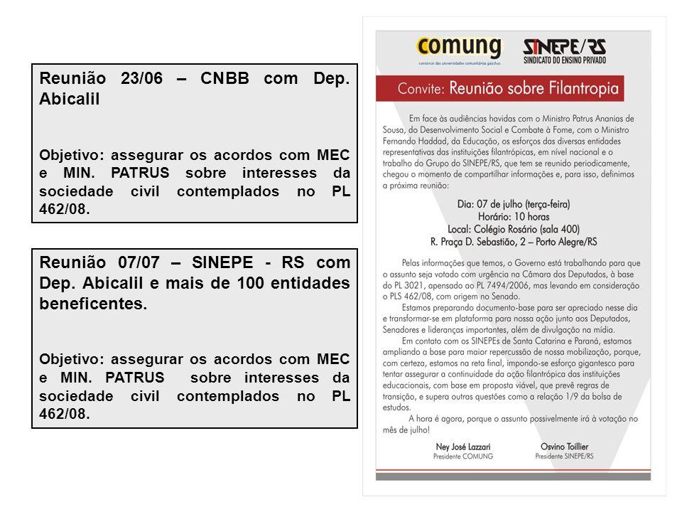 Reunião 23/06 – CNBB com Dep. Abicalil Objetivo: assegurar os acordos com MEC e MIN.