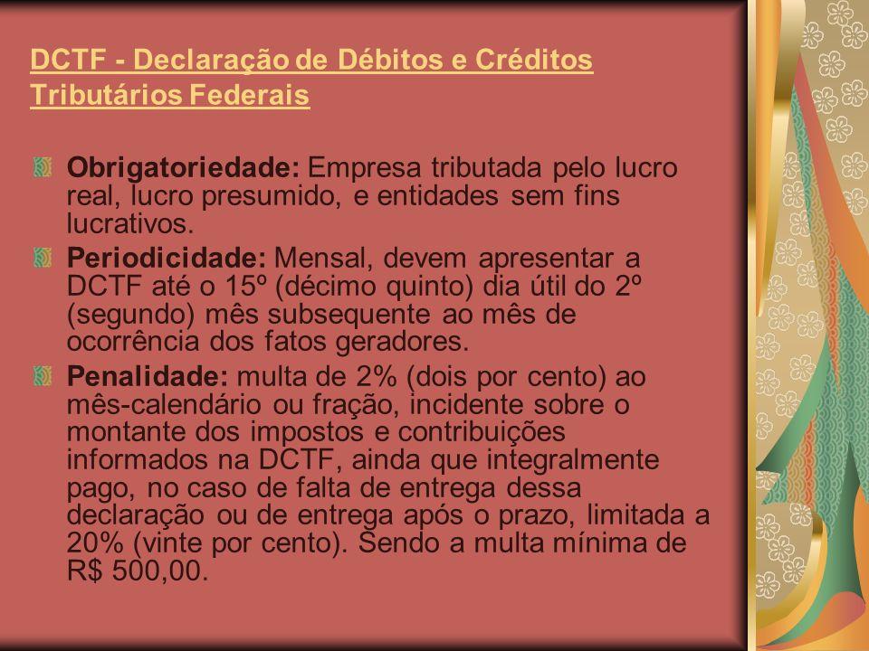 DACON - Demonstrativo de Apuração de Contribuições Sociais (Dacon) Obrigatoriedade: Empresa tributada pelo lucro real, lucro presumido, e entidades sem fins lucrativos.