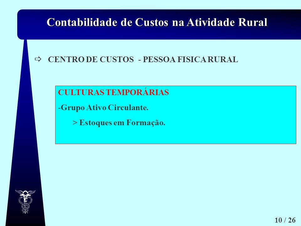 Contabilidade de Custos na Atividade Rural 10 / 26 c.1) c.2) CENTRO DE CUSTOS- PESSOA FISICA RURAL CULTURAS TEMPORÁRIAS -Grupo Ativo Circulante. > Est