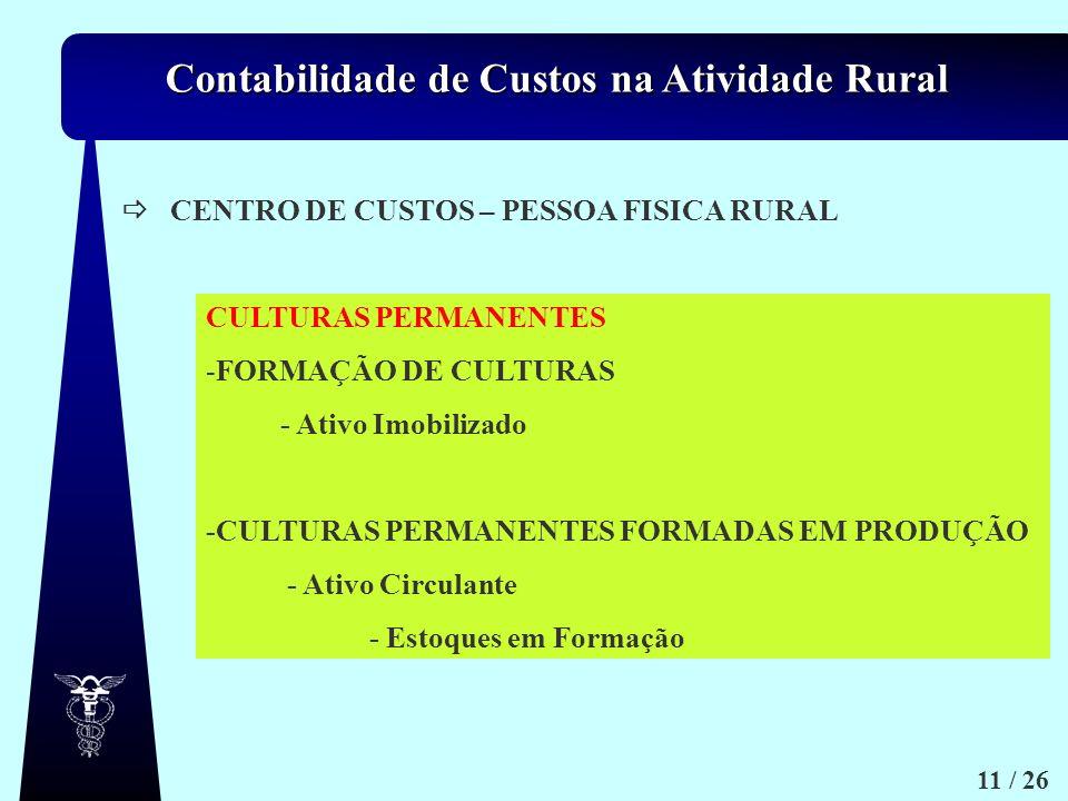 Contabilidade de Custos na Atividade Rural 11 / 26 CENTRO DE CUSTOS – PESSOA FISICA RURAL CULTURAS PERMANENTES -FORMAÇÃO DE CULTURAS - Ativo Imobiliza