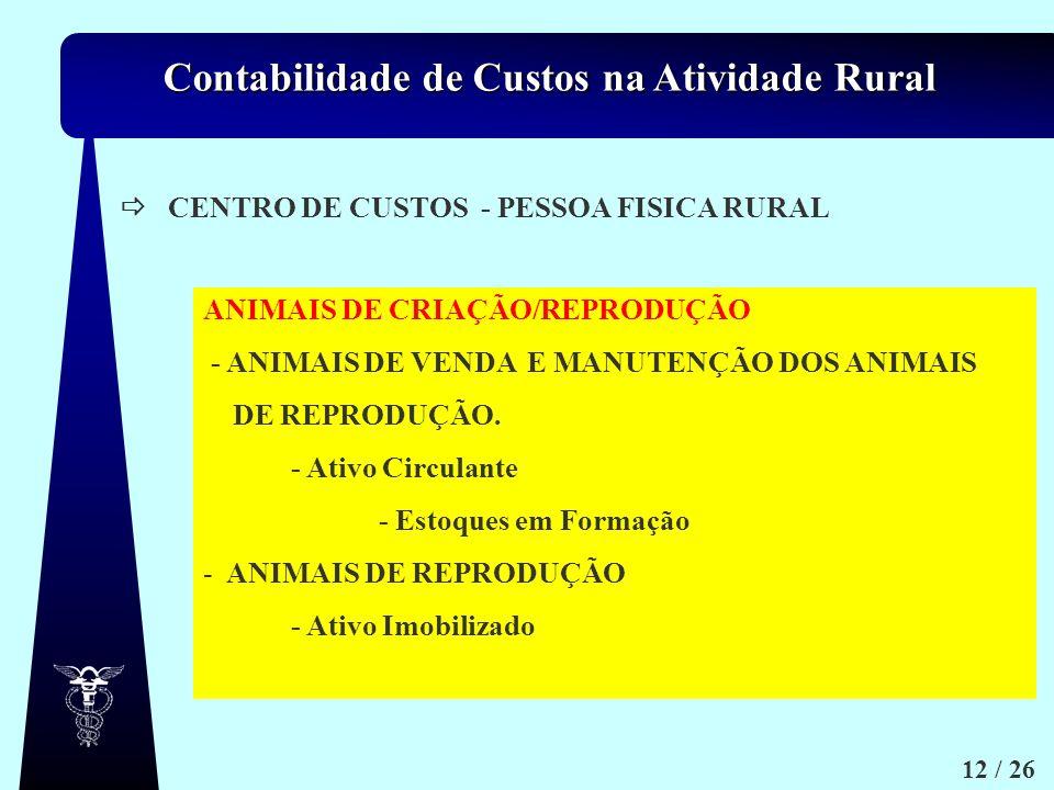 Contabilidade de Custos na Atividade Rural 12 / 26 CENTRO DE CUSTOS - PESSOA FISICA RURAL ANIMAIS DE CRIAÇÃO/REPRODUÇÃO - ANIMAIS DE VENDA E MANUTENÇÃ