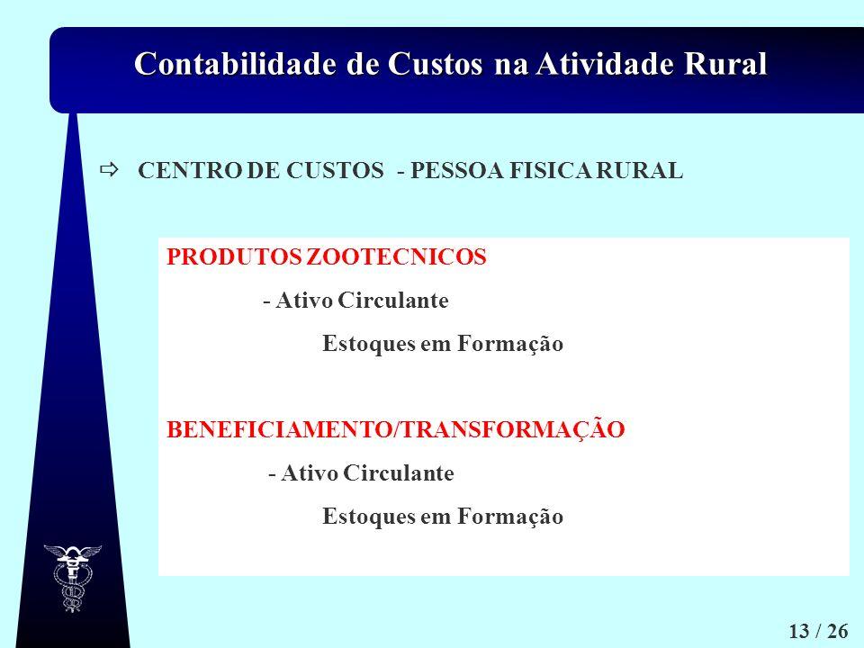 Contabilidade de Custos na Atividade Rural 13 / 26 CENTRO DE CUSTOS- PESSOA FISICA RURAL PRODUTOS ZOOTECNICOS - Ativo Circulante Estoques em Formação