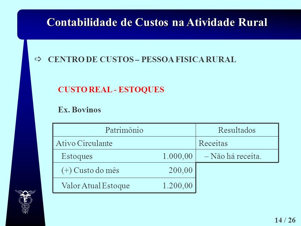 Contabilidade de Custos na Atividade Rural 14 / 26 Ex. Bovinos CENTRO DE CUSTOS – PESSOA FISICA RURAL CUSTO REAL - ESTOQUES 1.200,00Valor Atual Estoqu