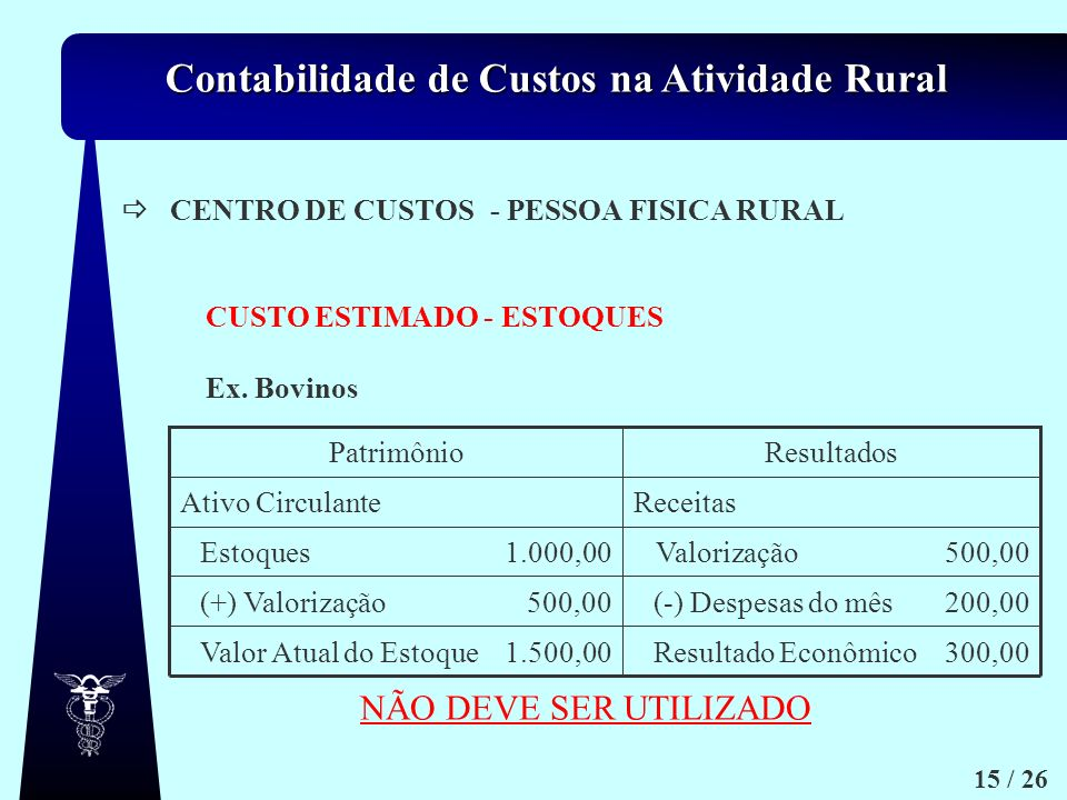Contabilidade de Custos na Atividade Rural 15 / 26 Ex. Bovinos CENTRO DE CUSTOS- PESSOA FISICA RURAL CUSTO ESTIMADO - ESTOQUES 300,00Resultado Econômi