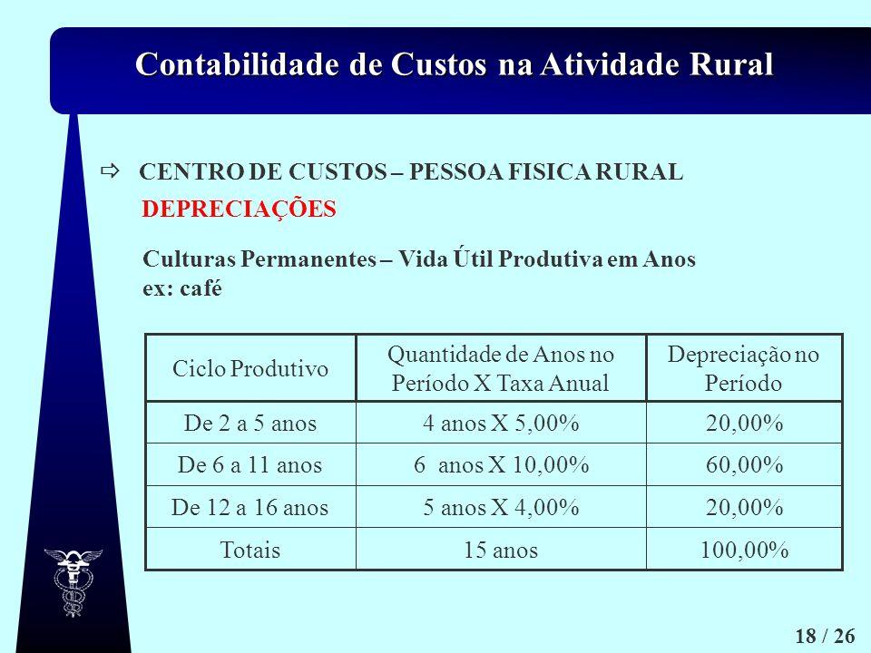 Contabilidade de Custos na Atividade Rural 18 / 26 CENTRO DE CUSTOS – PESSOA FISICA RURAL Culturas Permanentes – Vida Útil Produtiva em Anos ex: café