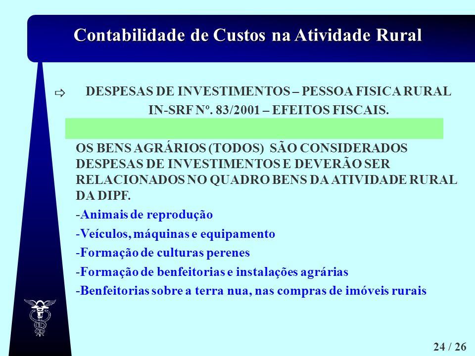 Contabilidade de Custos na Atividade Rural 24 / 26 DESPESAS DE INVESTIMENTOS – PESSOA FISICA RURAL IN-SRF Nº. 83/2001 – EFEITOS FISCAIS. OS BENS AGRÁR