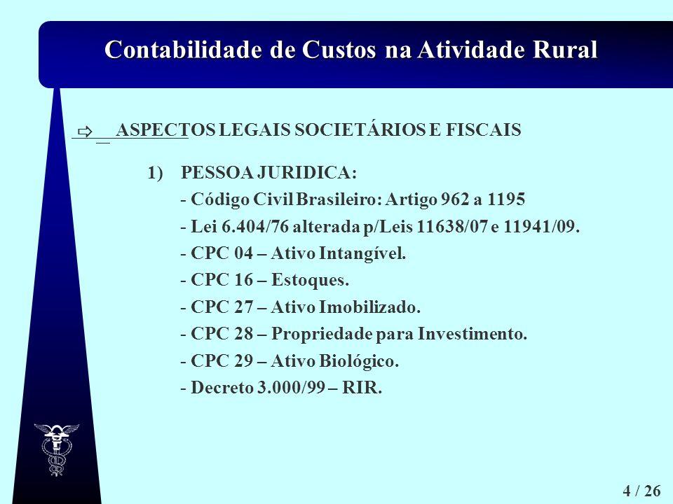 Contabilidade de Custos na Atividade Rural 4 / 26 ASPECTOS LEGAIS SOCIETÁRIOS E FISCAIS 1)PESSOA JURIDICA: - Código Civil Brasileiro: Artigo 962 a 119