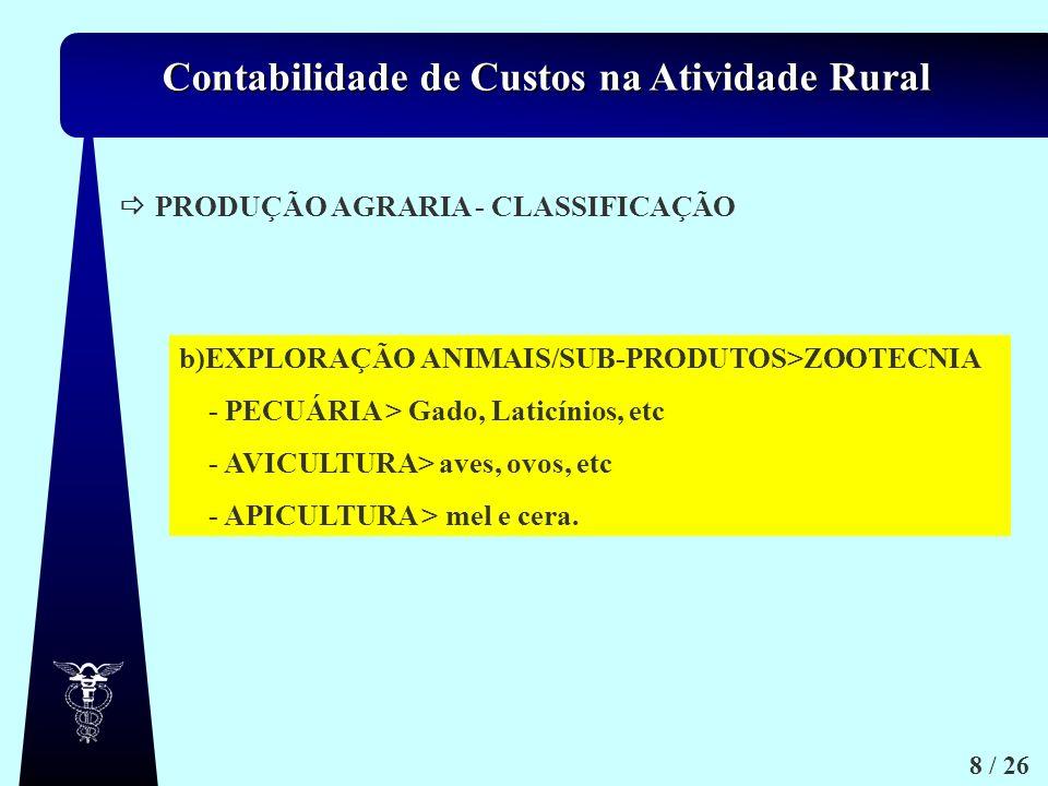 Contabilidade de Custos na Atividade Rural 8 / 26 PRODUÇÃO AGRARIA - CLASSIFICAÇÃO b)EXPLORAÇÃO ANIMAIS/SUB-PRODUTOS>ZOOTECNIA - PECUÁRIA > Gado, Lati