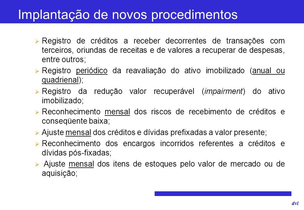 dvl Implantação de novos procedimentos Registro de créditos a receber decorrentes de transações com terceiros, oriundas de receitas e de valores a rec