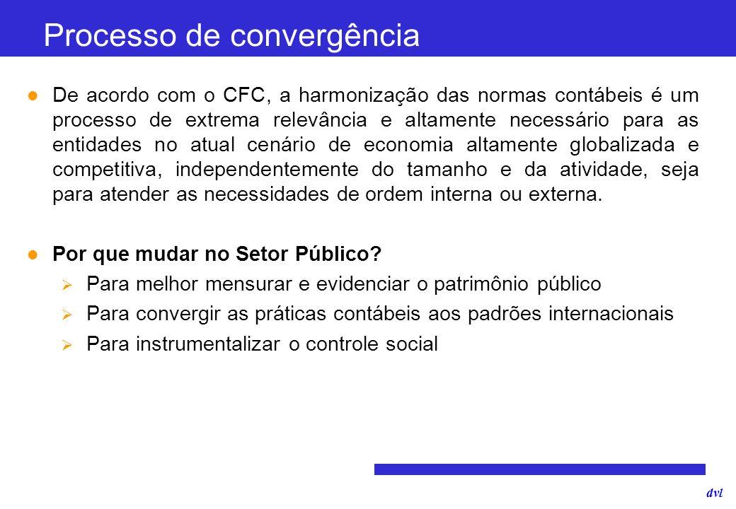dvl Processo de convergência De acordo com o CFC, a harmonização das normas contábeis é um processo de extrema relevância e altamente necessário para