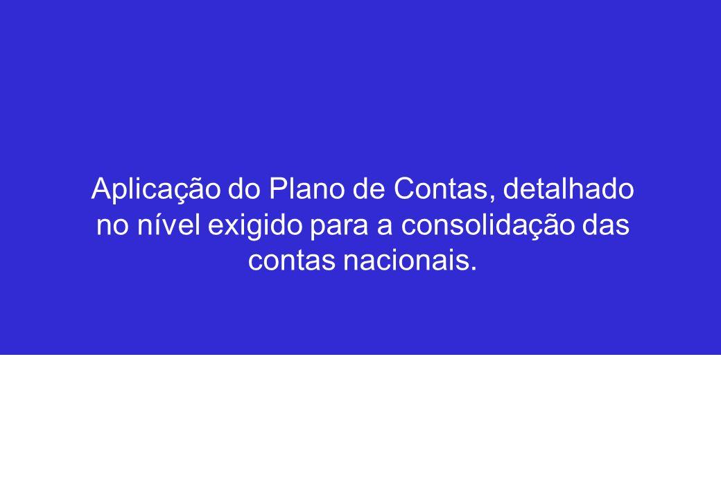 Aplicação do Plano de Contas, detalhado no nível exigido para a consolidação das contas nacionais.