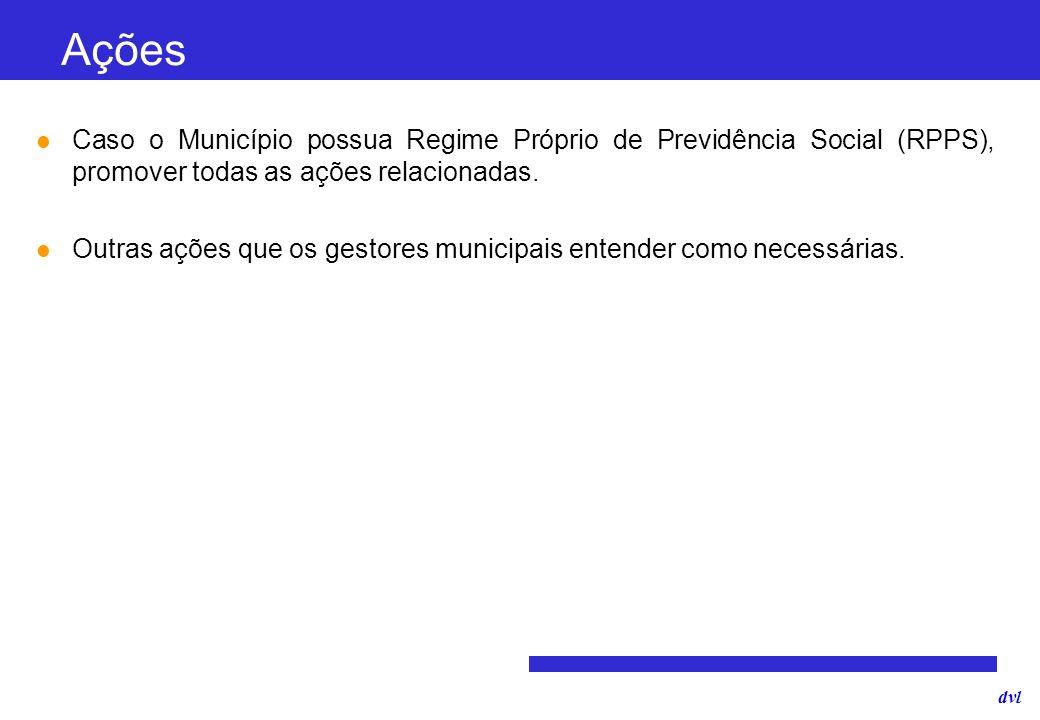 dvl Caso o Município possua Regime Próprio de Previdência Social (RPPS), promover todas as ações relacionadas. Outras ações que os gestores municipais