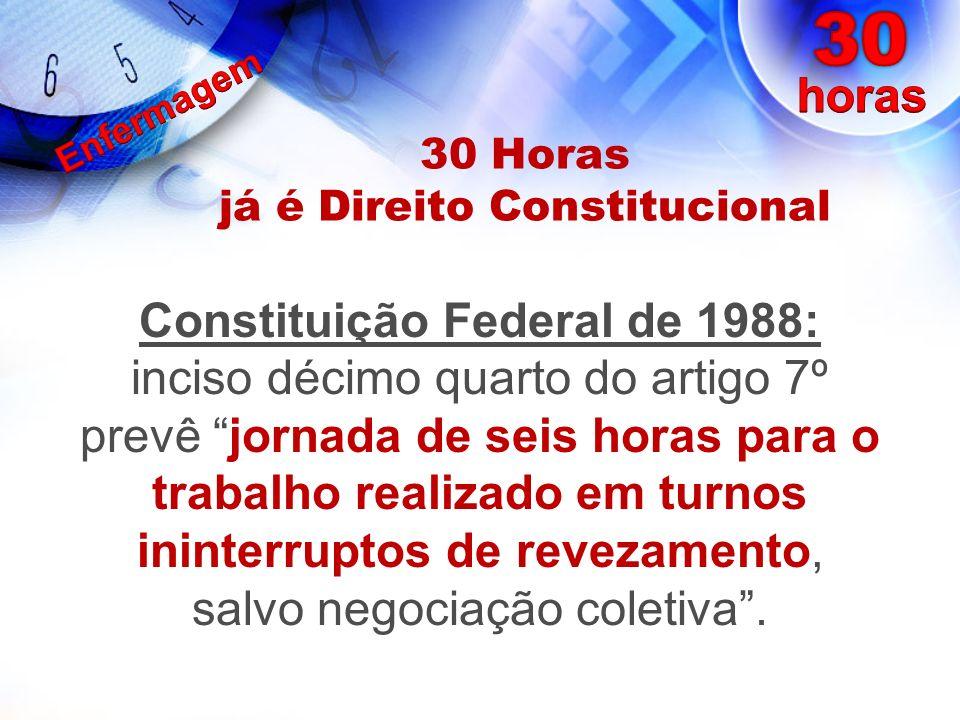 30 Horas já é Direito Constitucional Constituição Federal de 1988: inciso décimo quarto do artigo 7º prevê jornada de seis horas para o trabalho reali
